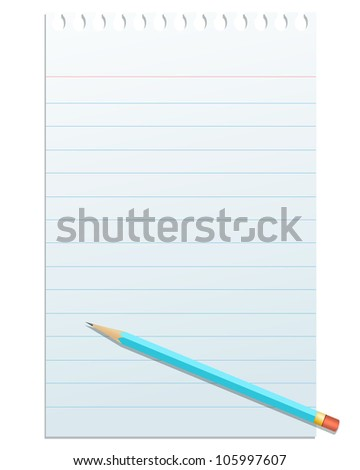 Blank notepad paper with pencil,isolated on white