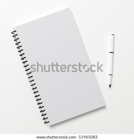 Blank notepad with white pen on white background