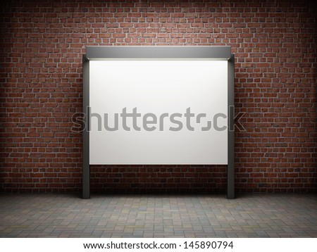 Blank notice board on brick wall