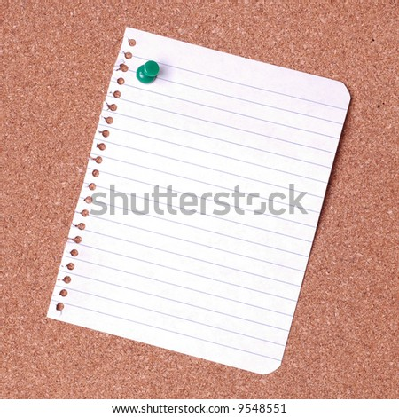 Blank notice on cork noticeboard ready for text to be added. - stock photo