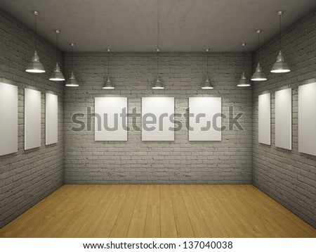 Blank of empty frames in the interior with light lamps - stock photo