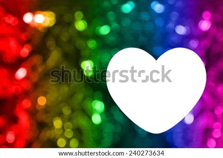 Blank of greeting card with rainbow bokeh background and heart shaped space for text or photo - stock photo