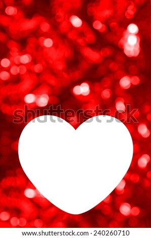 Blank of greeting card with red bokeh background and heart shaped space for text or photo - stock photo
