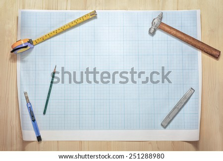 blank of the blueprint on workspace - stock photo