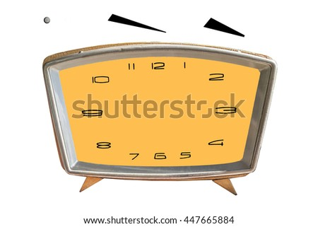 Blank old clock face with hour, minute hands isolated on white background. Just set your own time - stock photo