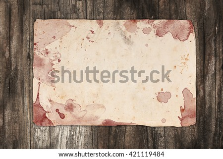 Blank old paper with blood drips and drops
