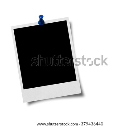 Blank old photo frame with a blue push pin on white background - stock photo