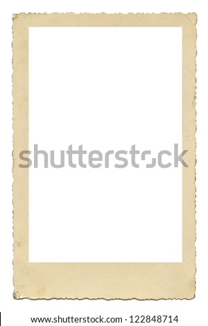 Blank old photo frame with figured edges, vintage paper texture, isolated over white background - stock photo