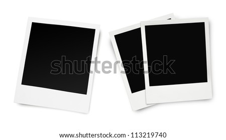Blank old photo frames isolated on white background - stock photo