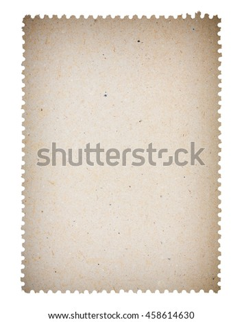 Blank old post paper stamp, isolated on white background - stock photo