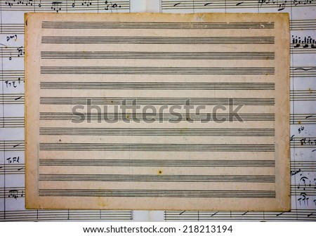 Blank Old Sheet Music on another sheet music