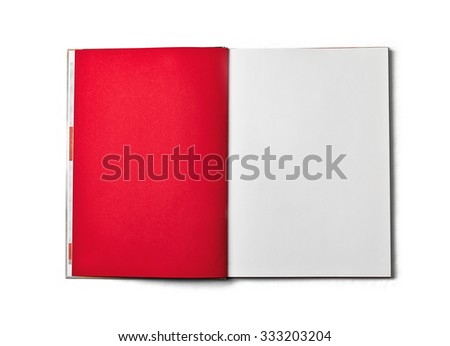 Blank open book isolated on white background. Top view. Paper texture. Clipping path. Mock up. - stock photo