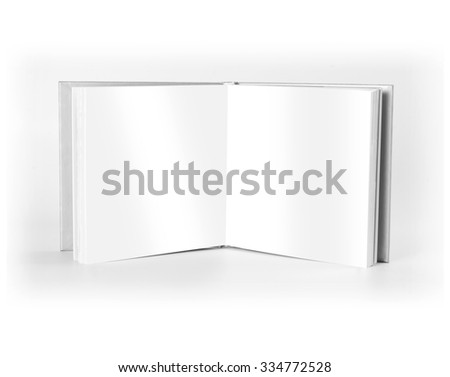 Blank open book standing over white background - stock photo
