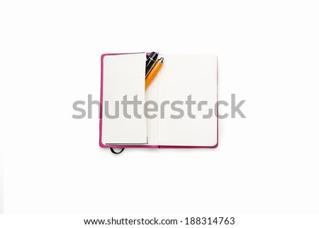 blank open diary with two pens in side pocket, isolated on white.