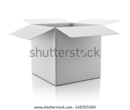 Blank open empty cardboard box isolated on white background with reflection effect