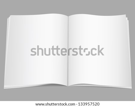 Blank open magazine - stock photo