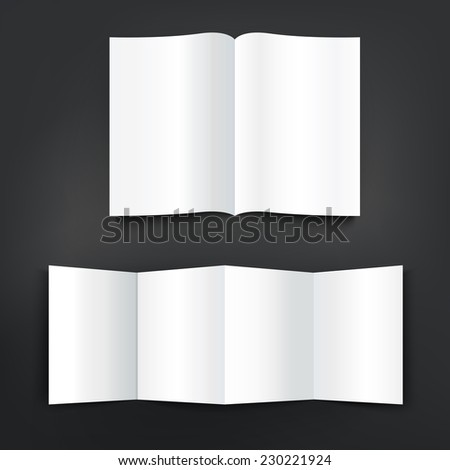 blank open magazine and brochure isolated on black background - stock photo
