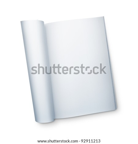 Blank open magazine isolated on white - stock photo