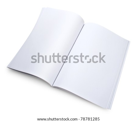 Blank open magazine isolated on white with a clipping path - stock photo