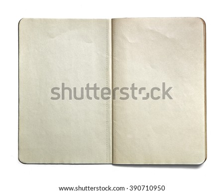Blank open note book isolated on white background. Front view. Paper texture. Clipping path. Mock up. - stock photo