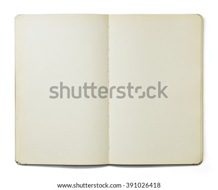 Blank open note book isolated on white background in front view. Clipping path. - stock photo