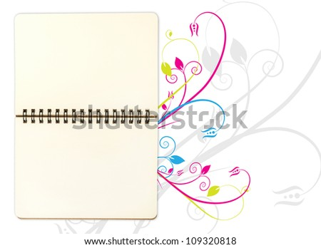 blank open note book on floral background; contain clipping path - stock photo