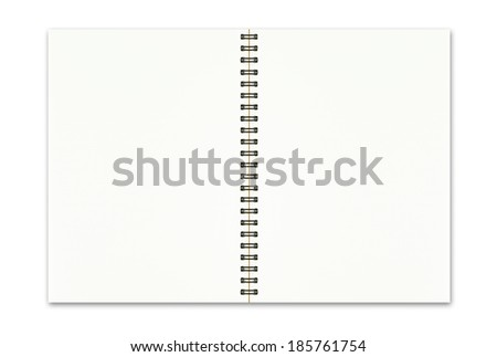 Blank open notebook isolated on white background - stock photo
