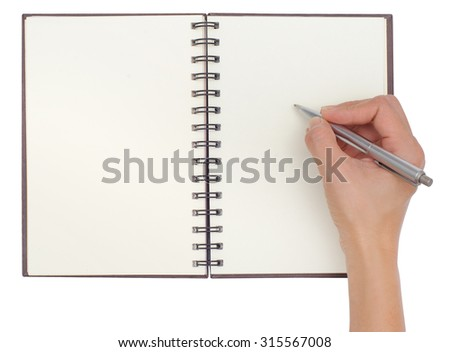 Blank open notebook isolated on white background with hand writing - stock photo