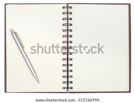 Blank open notebook isolated on white background with pen - stock photo