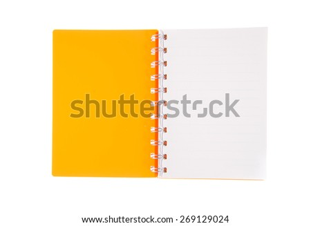 Blank open notebook lined papers isolated on white background