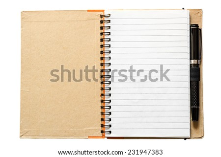 Blank open notebook with black pen isolated on white