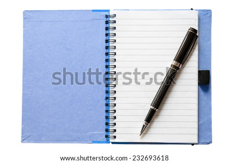 Blank open notebook with black pen isolated on white  - stock photo