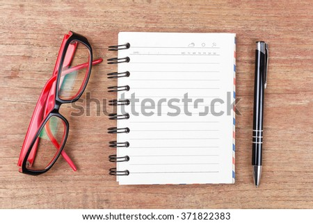 Blank open notebook with glasses, Business template mock up for adding your text