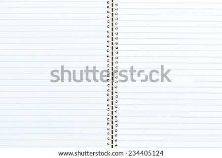 Blank open notebook with lined paper