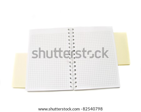 blank open notepad  isolated over white background - stock photo