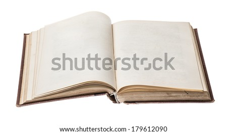 blank open old book isolated on white background - stock photo