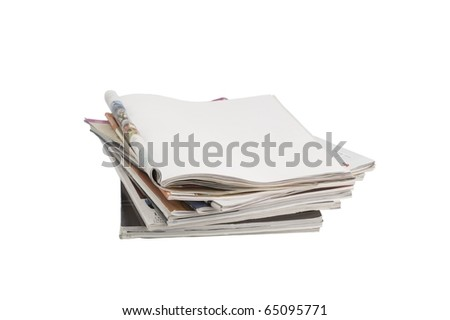Blank open page magazine isolated on white background