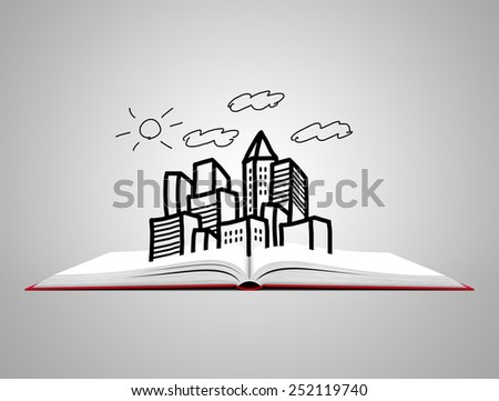 Blank open white book with sketch of city. - stock photo