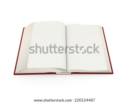 Blank opened book rendered on white background isolated