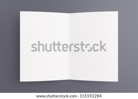 Blank opened card or flyer isolated on grey, to replace message or image on cover
