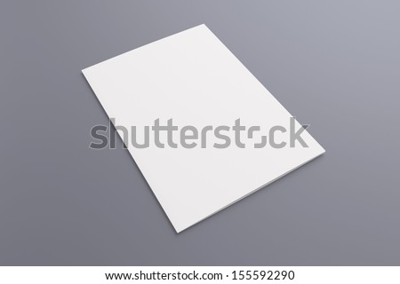 Blank opened card or flyer isolated on grey, to replace message or image on cover - stock photo
