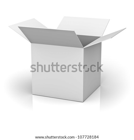 Blank opened cardboard box isolated on white background with reflection
