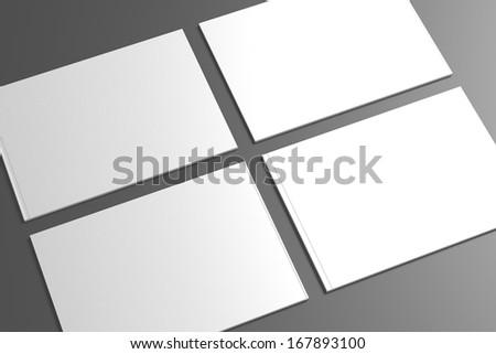 Blank opened Catalog / Brochure on dark background for your design - stock photo