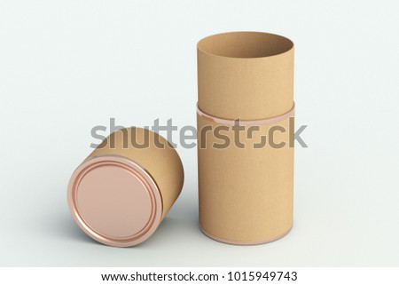 Blank opened kraft paper tube container packaging on white background. Include clipping path around tube. 3d illustration