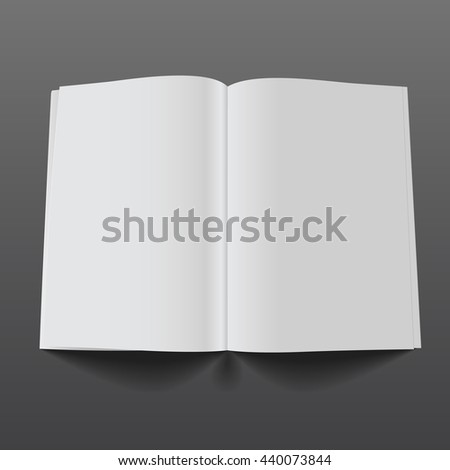 Blank opened magazine mockup template. Realistic illustration. Raster copy of vector file.