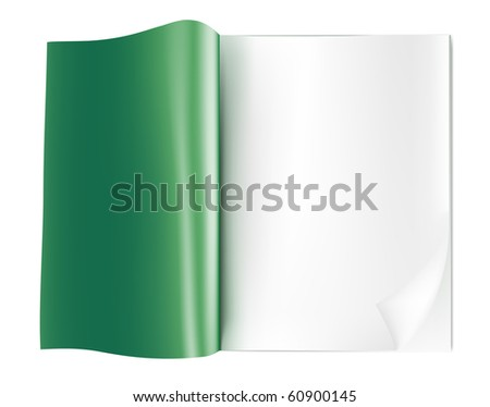 blank opened magazine.raster - stock photo
