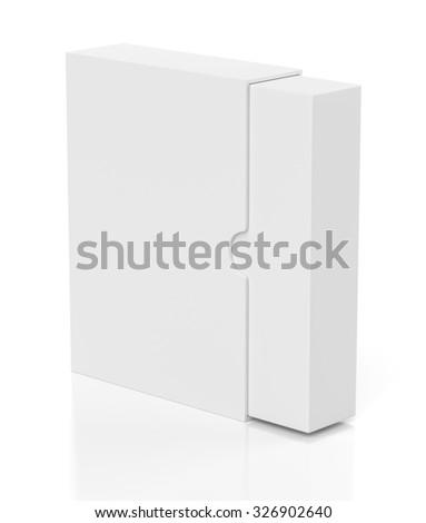 Blank opening box with slide cover isolated on white background - stock photo