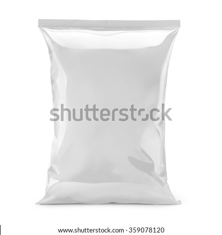 blank or white plastic bag snack packaging isolated on white - stock photo