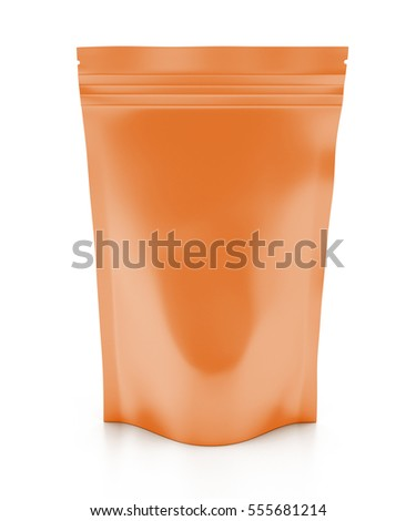 Blank orange foil snack package. Isolated on white background include clipping path. 3d render