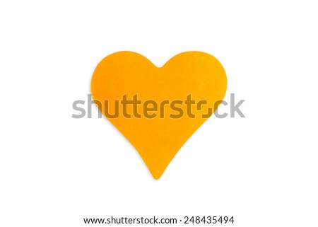 Blank orange sticky note in heart shape, isolated on white background. - stock photo